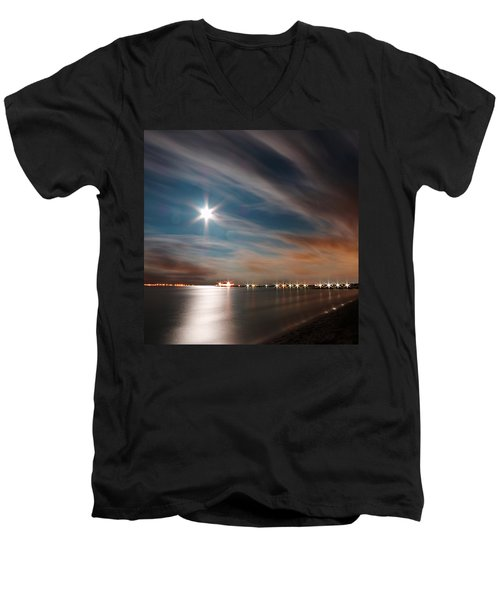 Moon Rise Over Anna Maria Island Historic City Pier Men's V-Neck T-Shirt
