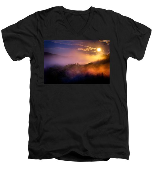 Moon Setting In Mist Men's V-Neck T-Shirt