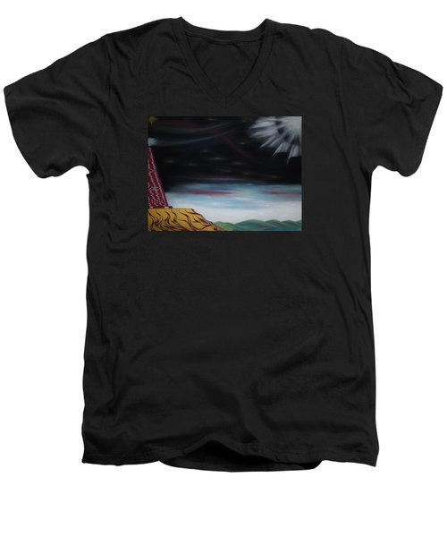 Men's V-Neck T-Shirt featuring the pastel Moon Tower by Robert Nickologianis