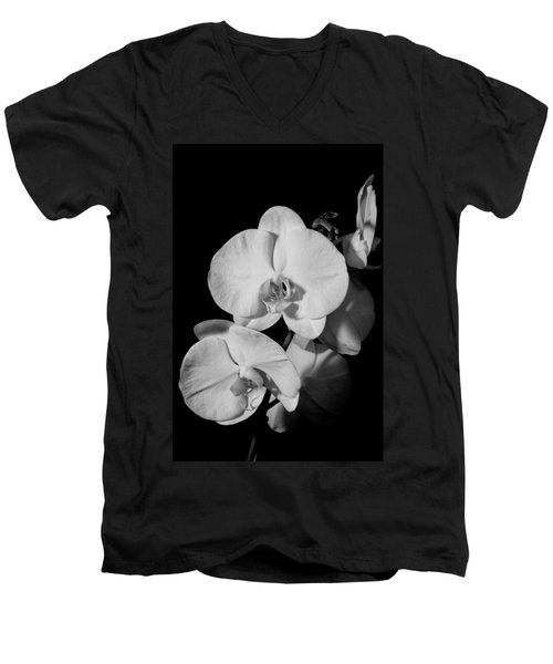 Moth Orchid Bw Men's V-Neck T-Shirt