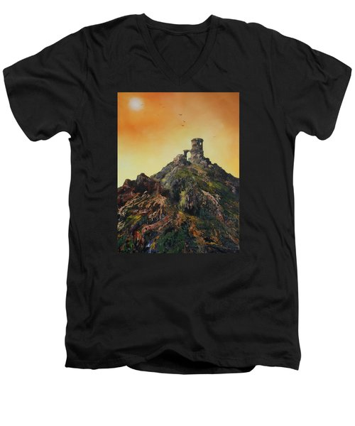 Men's V-Neck T-Shirt featuring the painting Mow Cop Castle Staffordshire by Jean Walker
