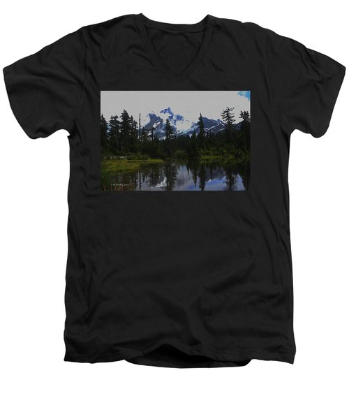 Mt Baker Washington  Men's V-Neck T-Shirt