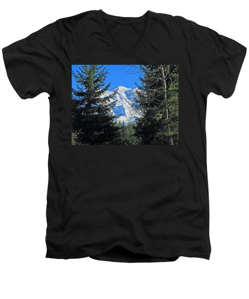 Mt. Rainier I Men's V-Neck T-Shirt by Tikvah's Hope