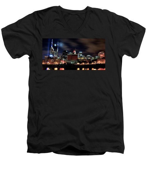 Nashville Panoramic View Men's V-Neck T-Shirt by Frozen in Time Fine Art Photography