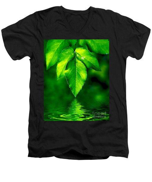 Natural Leaves Background Men's V-Neck T-Shirt by Michal Bednarek