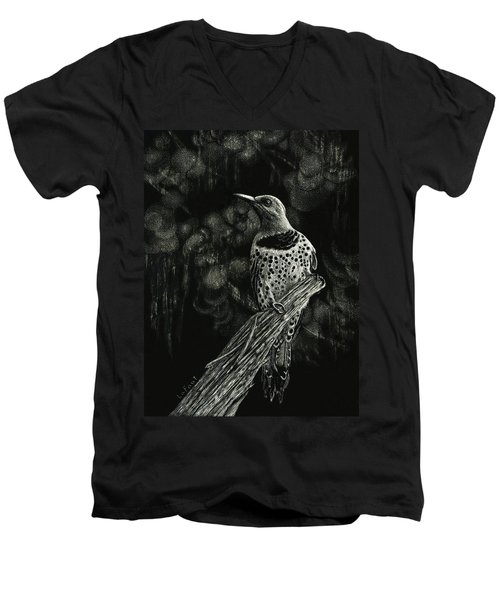 Men's V-Neck T-Shirt featuring the drawing Northern Flicker by Sandra LaFaut