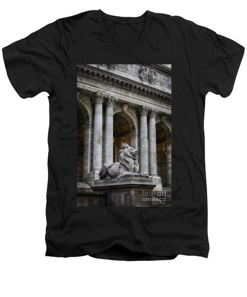 Ny Library Lion Men's V-Neck T-Shirt by Jerry Fornarotto