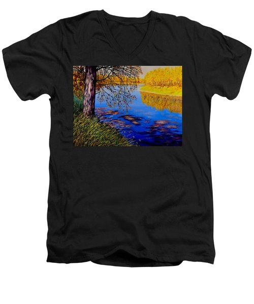 Men's V-Neck T-Shirt featuring the painting October Afternoon by Sher Nasser