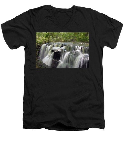 Odom Creek Waterfall Georgia Men's V-Neck T-Shirt by Charles Beeler