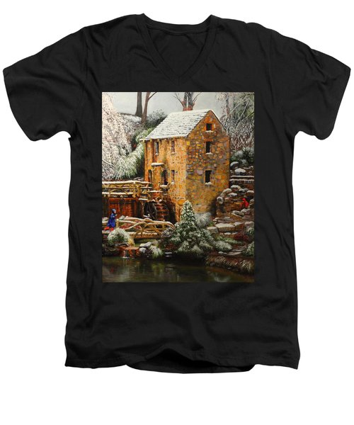 Old Mill In Winter Men's V-Neck T-Shirt