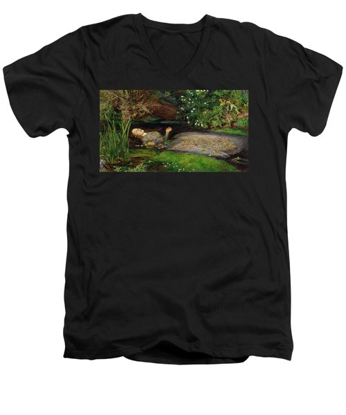 Ophelia Men's V-Neck T-Shirt by John Everett Millais