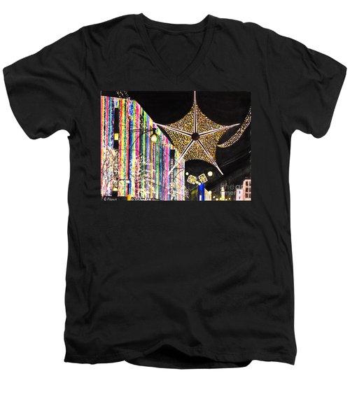 Oxford Street London 2011 Men's V-Neck T-Shirt by Carol Flagg
