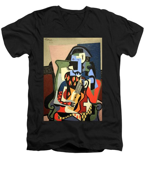 Picasso's Harlequin Musician Men's V-Neck T-Shirt by Cora Wandel