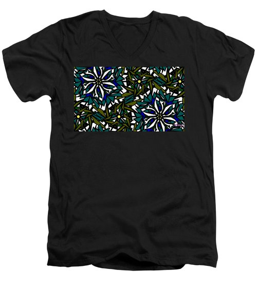 Men's V-Neck T-Shirt featuring the digital art Pin-wheel Flowers by Elizabeth McTaggart