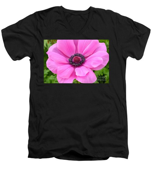 Men's V-Neck T-Shirt featuring the photograph Pink Flower by Jeannie Rhode