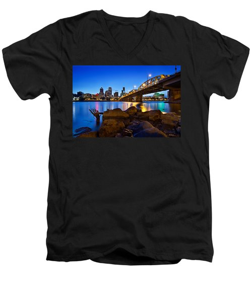 Men's V-Neck T-Shirt featuring the photograph Portland Oregon Skyline At Blue Hour by JPLDesigns