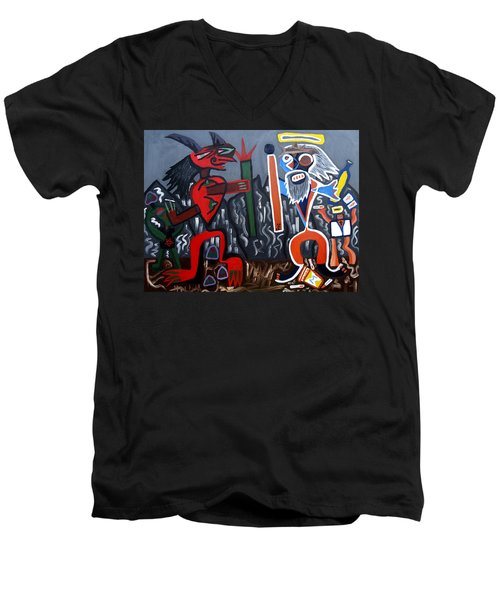 Men's V-Neck T-Shirt featuring the painting Pros Vs. Cons by Ryan Demaree