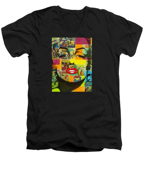 Men's V-Neck T-Shirt featuring the painting Pulp Marilyn by Joseph Sonday