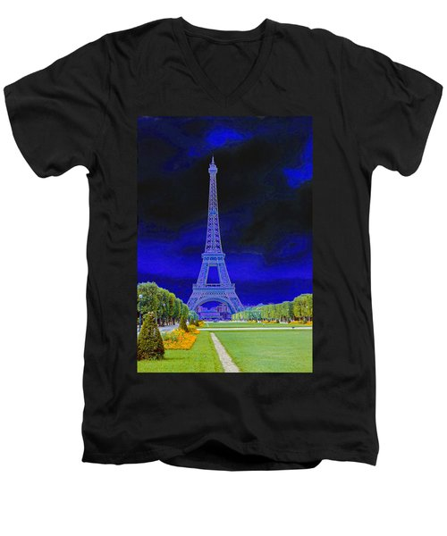 Purple Eiffel Men's V-Neck T-Shirt