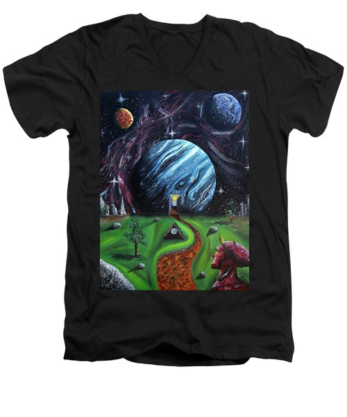 Men's V-Neck T-Shirt featuring the painting Quantum Dementia by Ryan Demaree