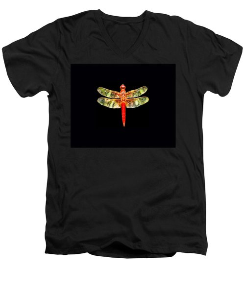 Red Dragonfly Small Men's V-Neck T-Shirt by Tony Grider