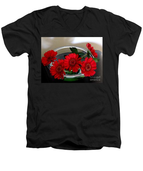 Red Flowers. Special Men's V-Neck T-Shirt