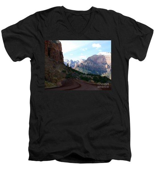 Road Through Zion National Park Men's V-Neck T-Shirt