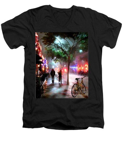 Men's V-Neck T-Shirt featuring the photograph Santa Monica Secrets by Jennie Breeze