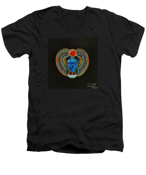 Men's V-Neck T-Shirt featuring the painting Scarab by Joseph Sonday