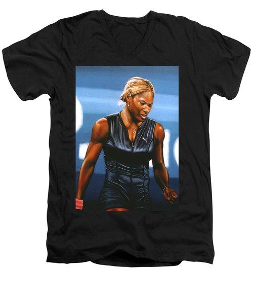 Serena Williams Men's V-Neck T-Shirt by Paul Meijering