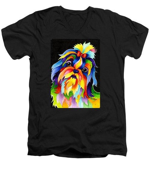 Shih Tzu Men's V-Neck T-Shirt by Sherry Shipley