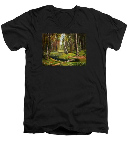 Silence Of The Forest Men's V-Neck T-Shirt by Kate Black