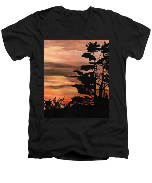 Men's V-Neck T-Shirt featuring the painting Silhouette Sunset by Mary Ellen Anderson