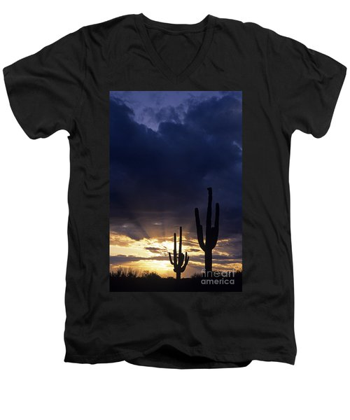 Silhouetted Saguaro Cactus Sunset At Dusk Arizona State Usa Men's V-Neck T-Shirt