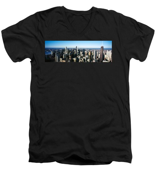 Skyscrapers In A City, Hancock Men's V-Neck T-Shirt by Panoramic Images