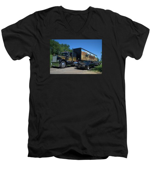 Men's V-Neck T-Shirt featuring the photograph Smokey And The Bandit Tribute 1973 Kenworth Semi Truck And The Bandit by Tim McCullough