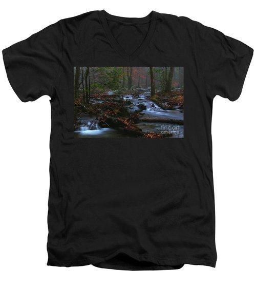 Smoky Mountain Color Men's V-Neck T-Shirt by Douglas Stucky
