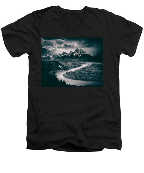 Snake River In The Tetons - 1930s Men's V-Neck T-Shirt