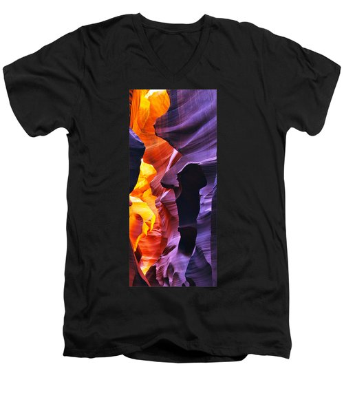 Men's V-Neck T-Shirt featuring the photograph Somewhere In America Series - Antelope Canyon by Lilia D