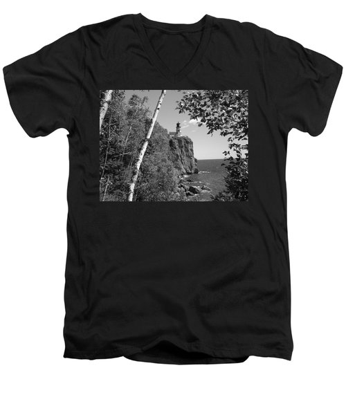 Split Rock Black And White Men's V-Neck T-Shirt