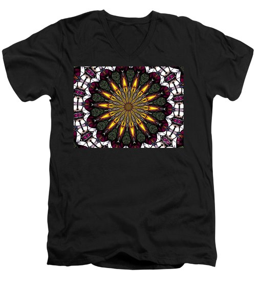 Men's V-Neck T-Shirt featuring the photograph Stained Glass Kaleidoscope 1 by Rose Santuci-Sofranko