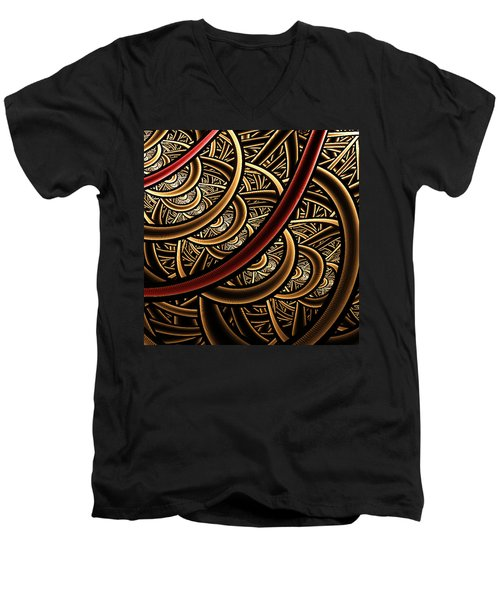 Men's V-Neck T-Shirt featuring the digital art Stairways by Ester  Rogers