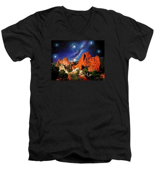 Starry Night At Garden Of The Gods Men's V-Neck T-Shirt by John Hoffman