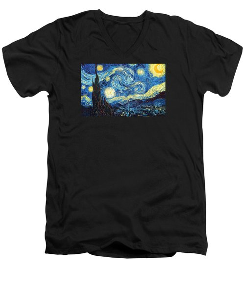 The Starry Night Men's V-Neck T-Shirt by Vincent Van Gogh