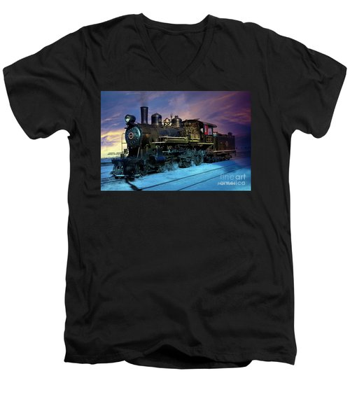Steam Engine Nevada Northern Men's V-Neck T-Shirt