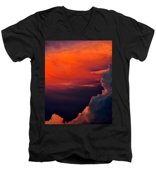 Storm Moving In 16101 Men's V-Neck T-Shirt by Jerry Sodorff