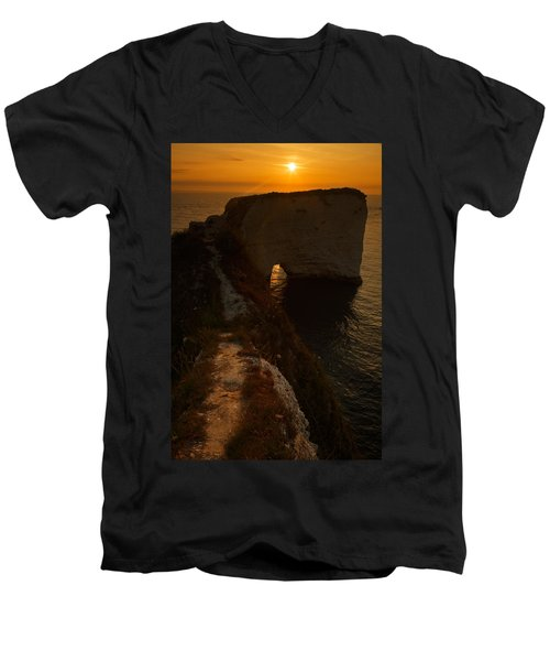 Sunrise At Old Harry Rocks Men's V-Neck T-Shirt