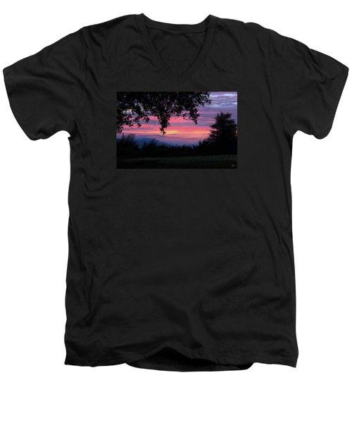 Sunset Men's V-Neck T-Shirt by Kate Black