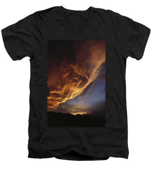 Sunset On Storm Clouds Near Mt Cook Men's V-Neck T-Shirt by Ian Whitehouse