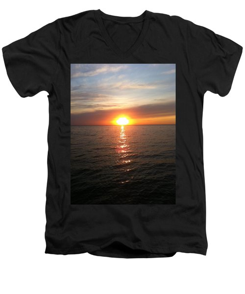 Men's V-Neck T-Shirt featuring the photograph Sunset On The Bay by Tiffany Erdman